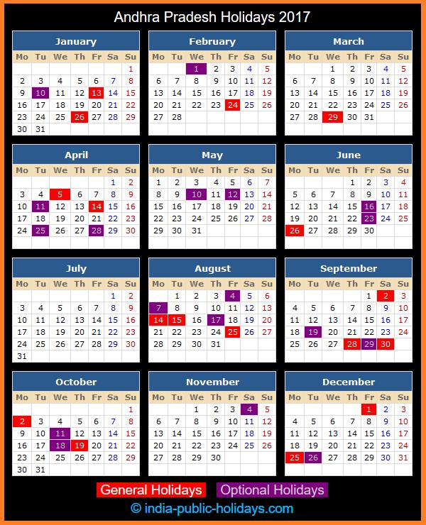 Andhra Pradesh Holiday Calendar 2017
