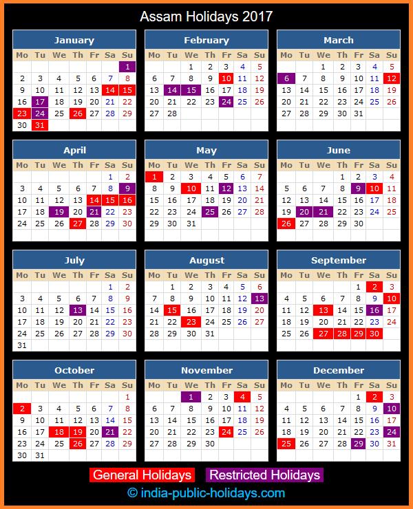 Assam Holiday Calendar 2017