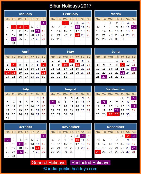 Bihar Holiday Calendar 2017