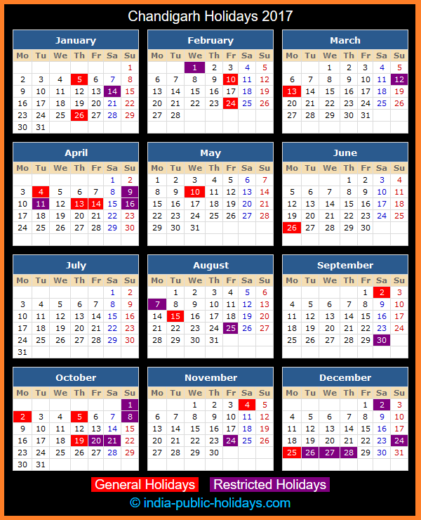 Chandigarh Holiday Calendar 2017