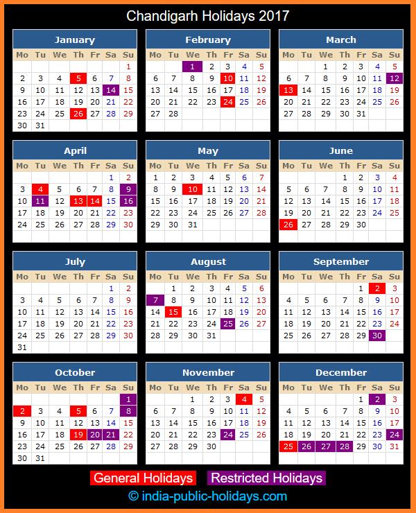 Chandigarh Holiday Calendar 2017
