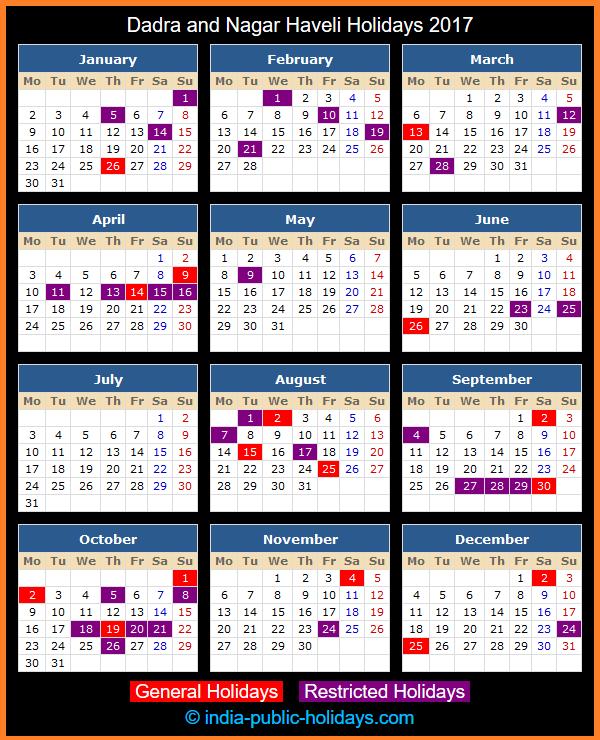 Dadra and Nagar Haveli Holiday Calendar 2017