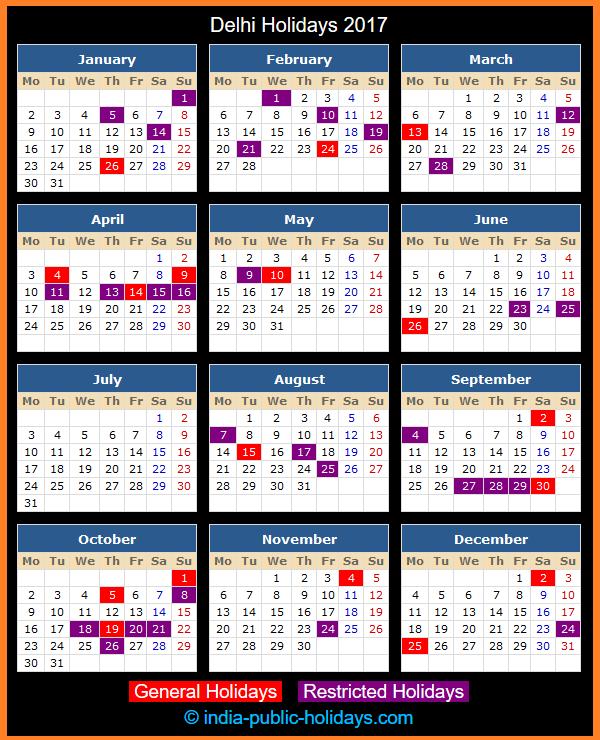 Delhi Holiday Calendar 2017