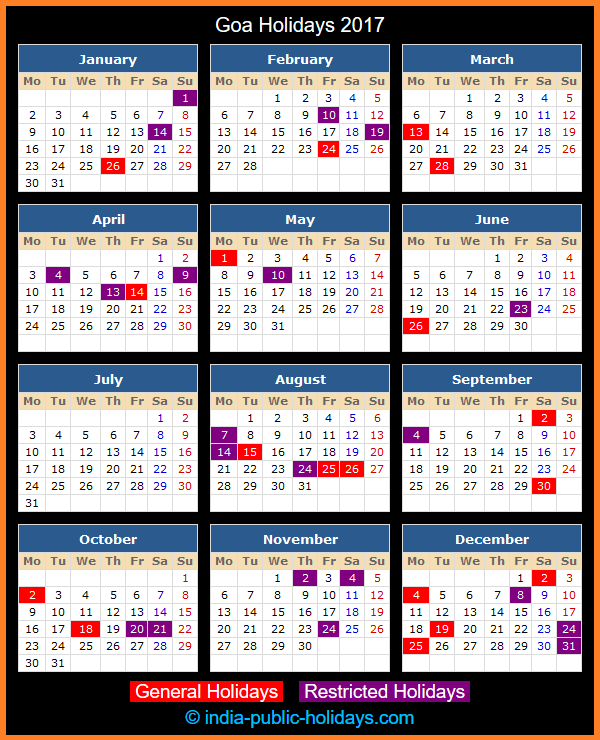 Goa Holiday Calendar 2017