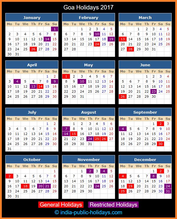 Goa Holiday Calendar 2017
