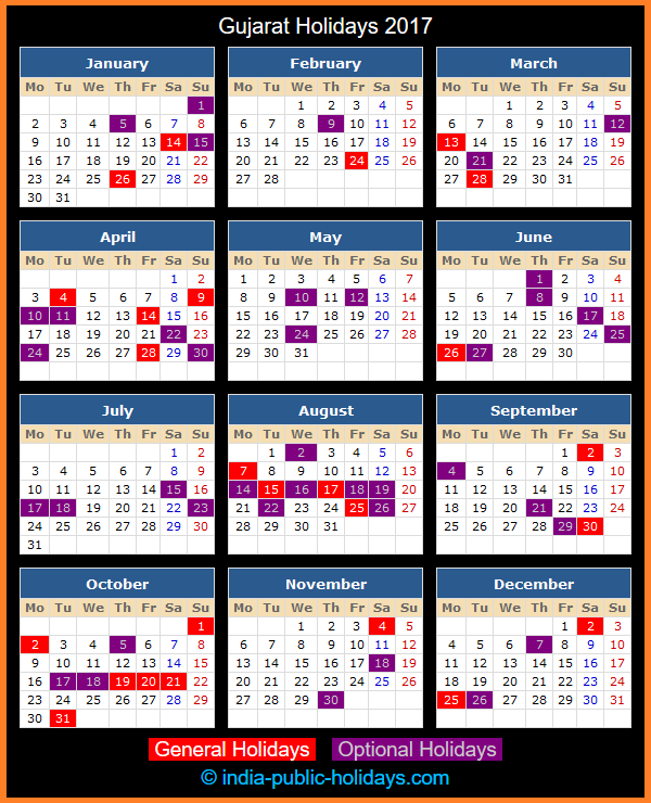Gujarat Holiday Calendar 2017