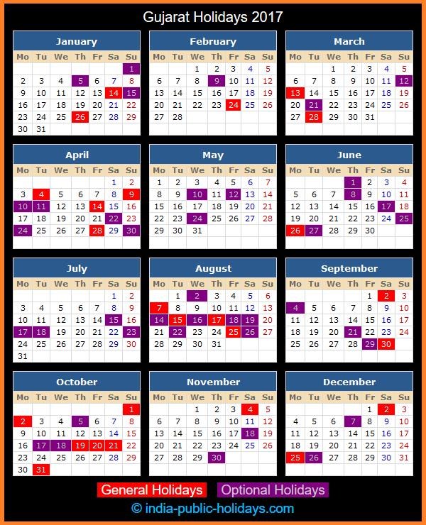 Gujarat Holiday Calendar 2017