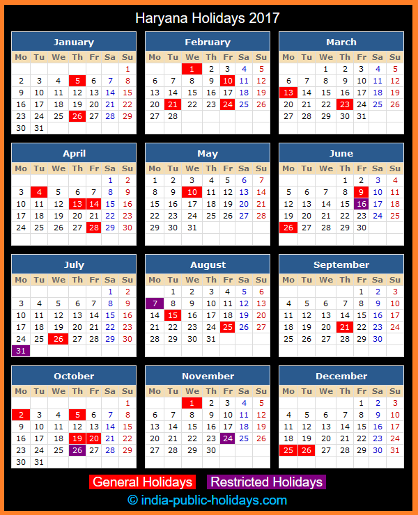 Haryana Holiday Calendar 2017