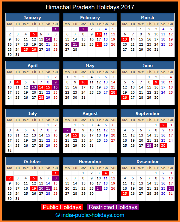 Himachal Pradesh Holiday Calendar 2017
