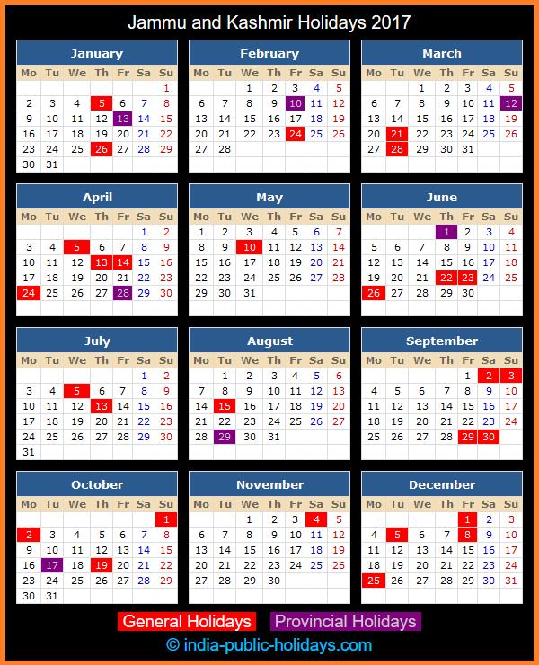 Jammu and Kashmir Holiday Calendar 2017