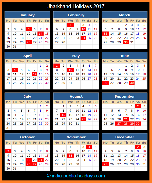 Jharkhand Holiday Calendar 2017