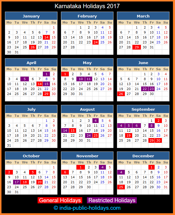 Karnataka Holiday Calendar 2017