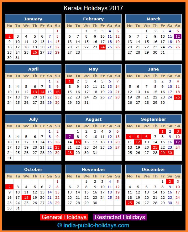 Kerala Holiday Calendar 2017