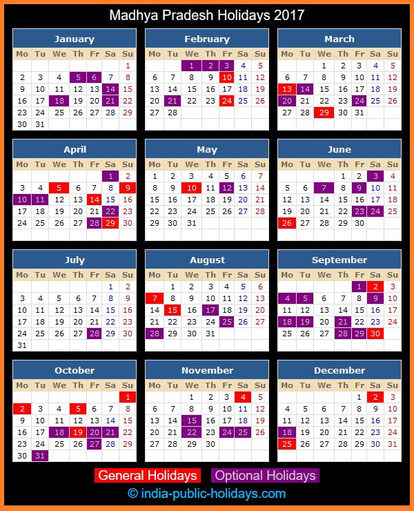 Madhya Pradesh Holiday Calendar 2017