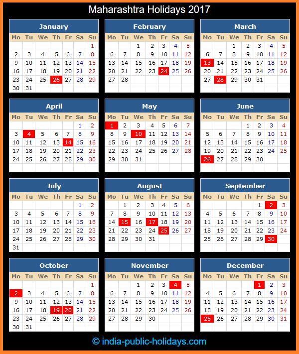 Maharashtra Holiday Calendar 2017