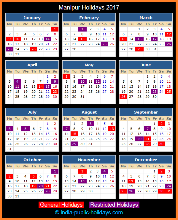Manipur Holiday Calendar 2017