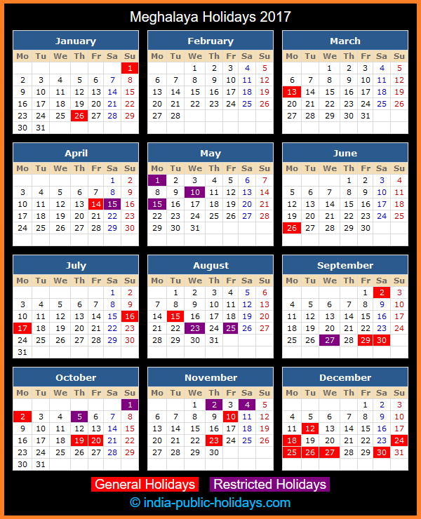 Meghalaya Holiday Calendar 2017