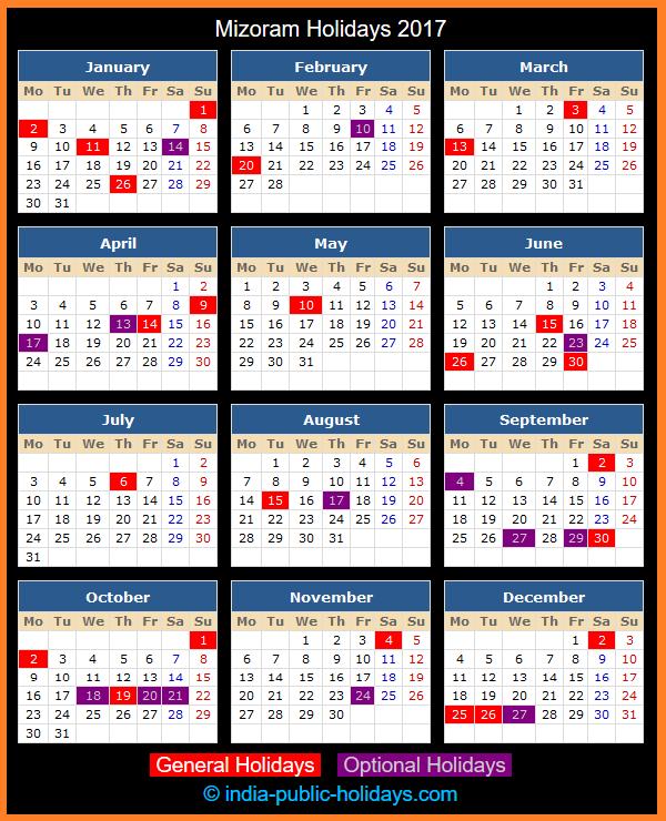 Mizoram Holiday Calendar 2017