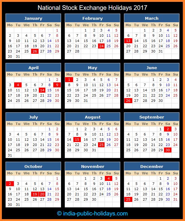 National Stock Exchange Holiday Calendar 2017