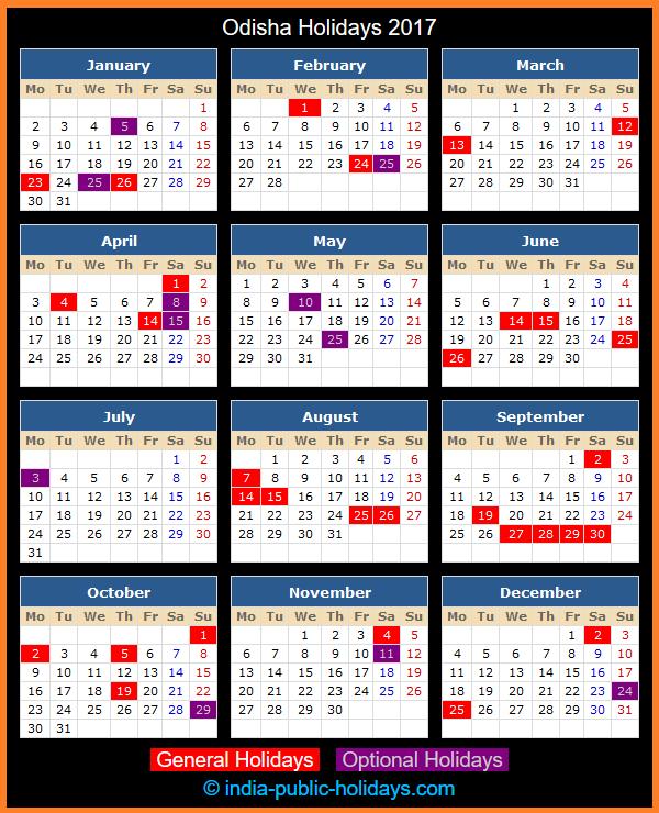 Odisha Holiday Calendar 2017
