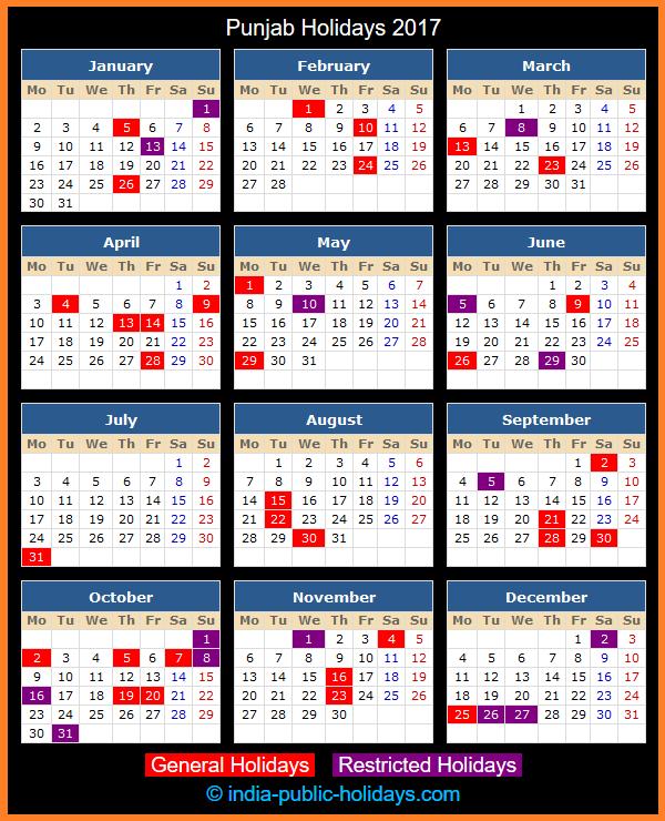 Punjab Holidays 2017  Public