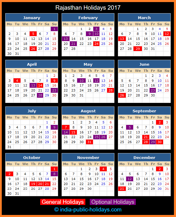 Rajasthan Holiday Calendar 2017