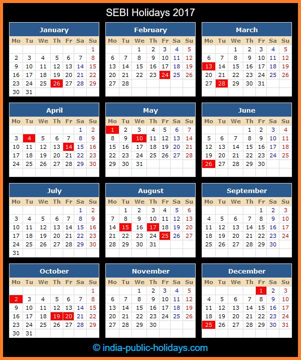 SEBI Holiday Calendar 2017