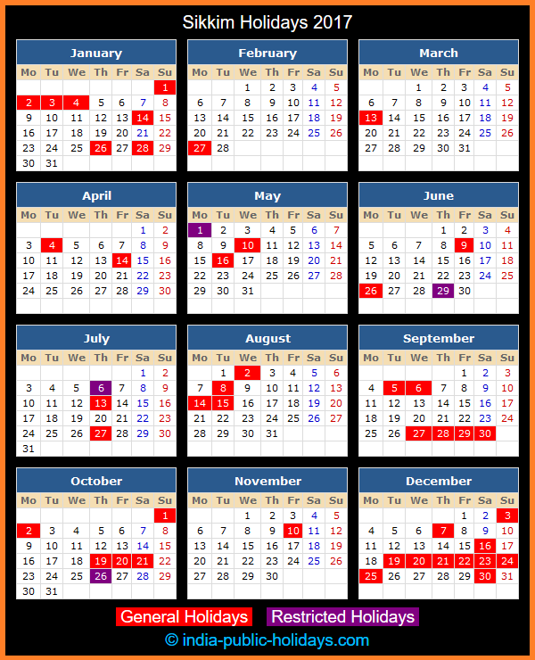 Sikkim Holiday Calendar 2017