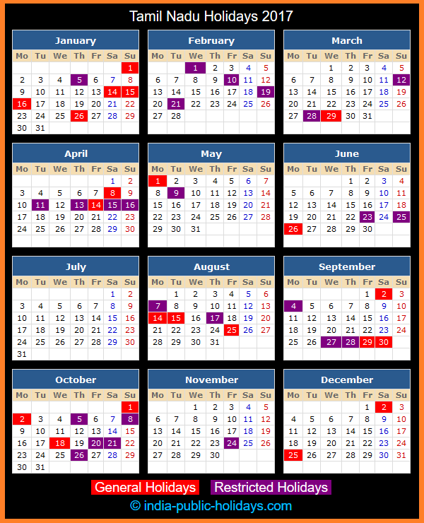Tamil Nadu Holiday Calendar 2017