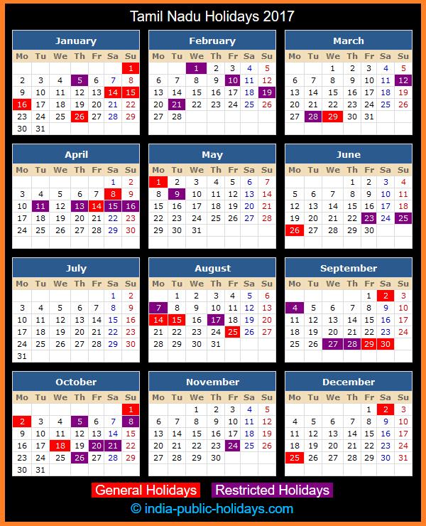 Tamil Nadu Holiday Calendar 2017