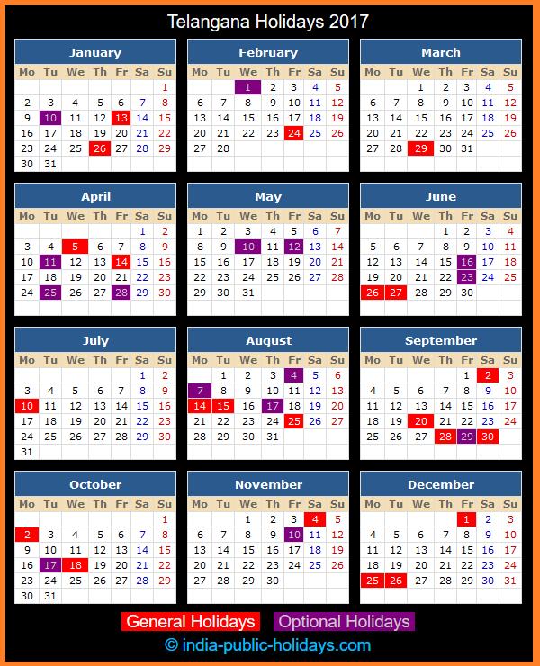 Telangana Holiday Calendar 2017