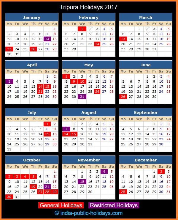 Tripura Holiday Calendar 2017