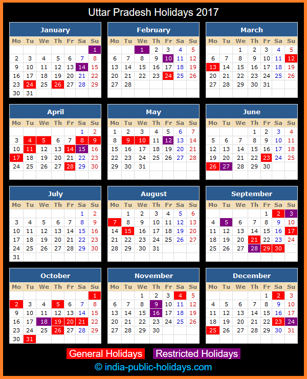 Uttar Pradesh Holiday Calendar 2017