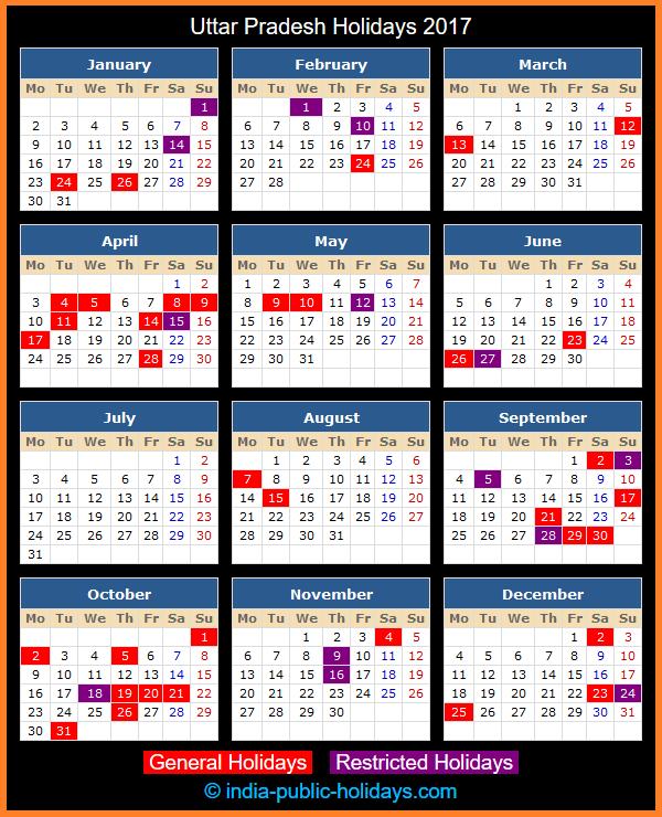 Uttar Pradesh Holiday Calendar 2017