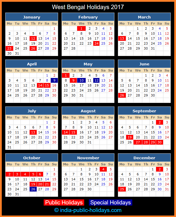 West Bengal Holiday Calendar 2017