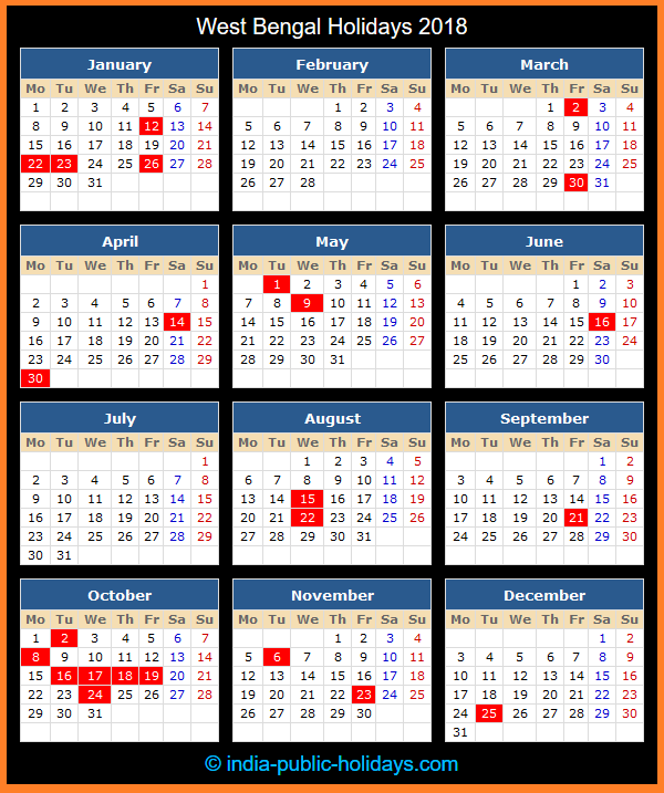 West Bengal Holiday Calendar 2018