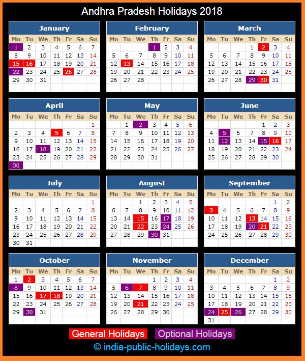 Andhra Pradesh Holiday Calendar 2018