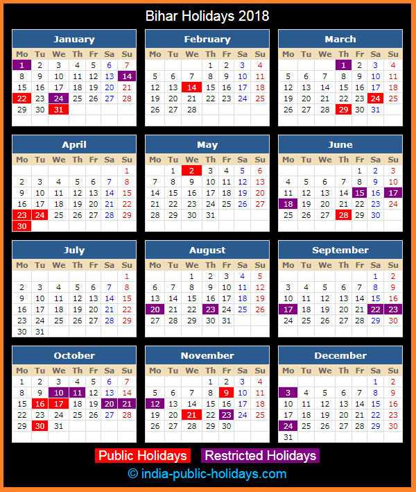Bihar Holiday Calendar 2018