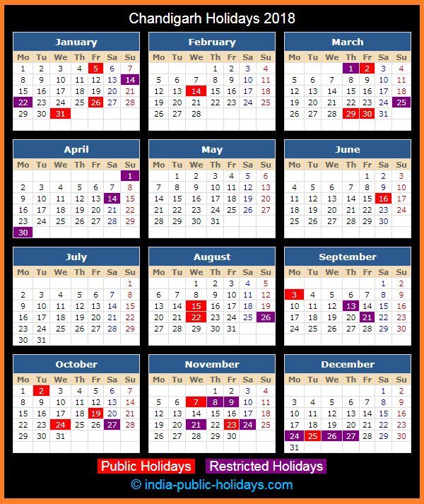 Chandigarh Holiday Calendar 2018