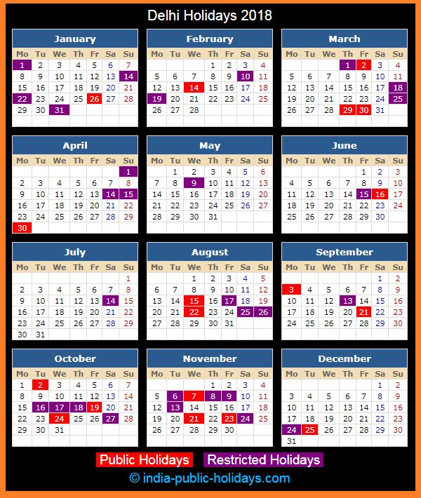 Delhi Holiday Calendar 2018