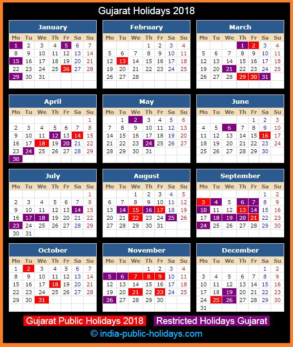 Gujarat Holiday Calendar 2018
