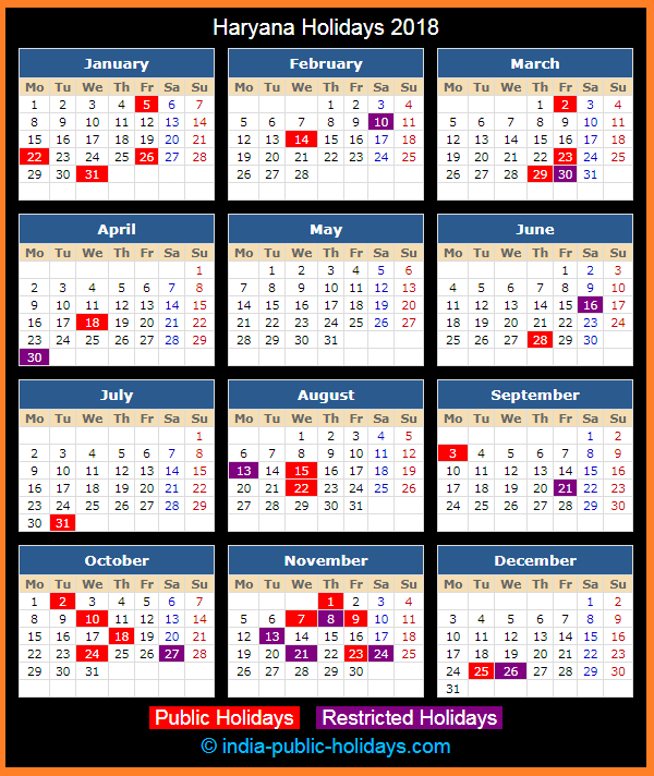 Haryana Holiday Calendar 2018