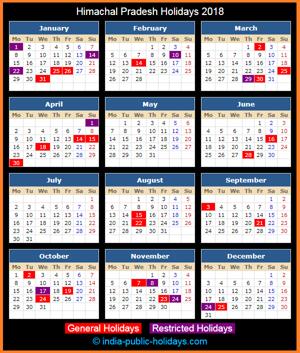 Himachal Pradesh Holiday Calendar 2018