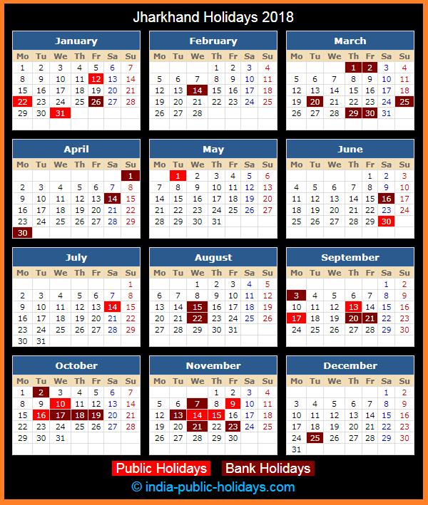 Jharkhand Holiday Calendar 2018