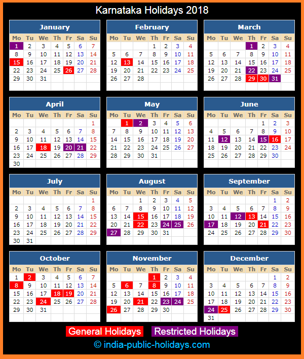 Karnataka Holiday Calendar 2018