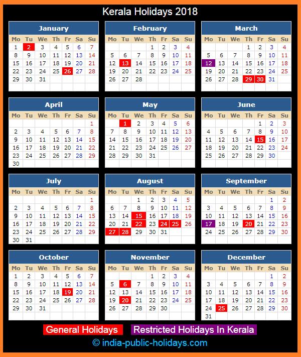 Kerala Holiday Calendar 2018