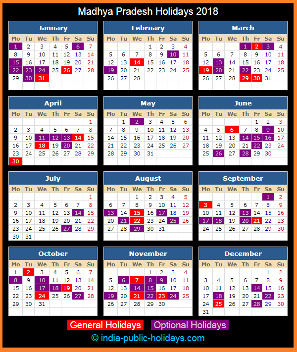 Madhya Pradesh Holiday Calendar 2018