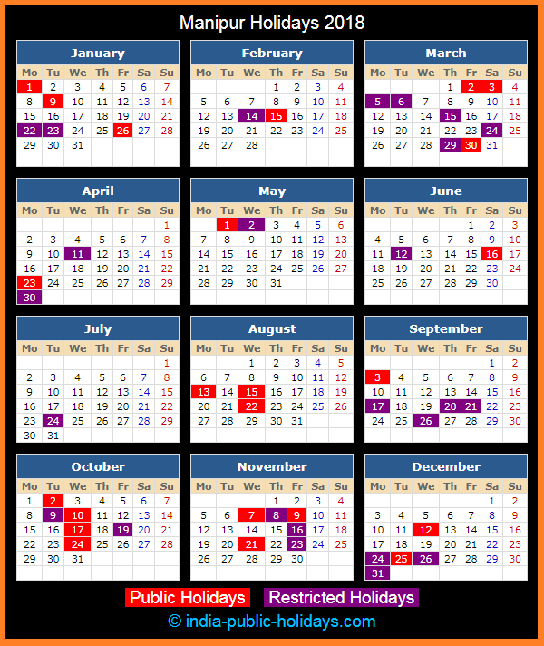 Manipur Holiday Calendar 2018