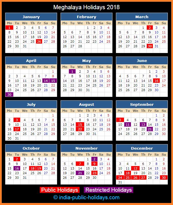 Rajasthan Calendar June : Meghalaya holidays