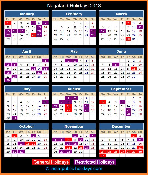 nagaland holiday calendar 2018
